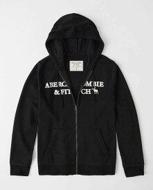 Abercrombie&Fitch (アバクロンビー&フィッチ) ムース刺繍 フルジップ パーカー(フーディー) (Embroidered Logo Full-Zip Hoodie) メンズ (Black) 新品