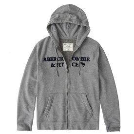 Abercrombie&Fitch (アバクロンビー&フィッチ) ムース刺繍 フルジップ パーカー(フーディー) (Embroidered Logo Full-Zip Hoodie) メンズ (Heather Grey) 新品