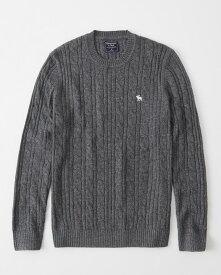Abercrombie&Fitch (アバクロンビー&フィッチ) ムース刺繍 ケーブルニット (Icon Cable Knit Sweater) メンズ (Dark Grey) 新品