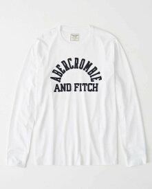 Abercrombie&Fitch (アバクロンビー&フィッチ) アップリケ長袖Tシャツ (ロンT) (Long-Sleeve Logo Tee) メンズ (White) 新品