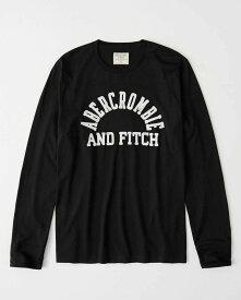 Abercrombie&Fitch (アバクロンビー&フィッチ) アップリケ長袖Tシャツ (ロンT) (Long-Sleeve Logo Tee) メンズ (Black) 新品