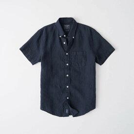 Abercrombie&Fitch (アバクロンビー&フィッチ) リネン 半袖シャツ(Short-Sleeved Linen Shirt) メンズ (Navy) 新品 日本未発売