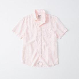 Abercrombie&Fitch (アバクロンビー&フィッチ) リネン 半袖シャツ(Short-Sleeved Linen Shirt) メンズ (Pink) 新品 日本未発売