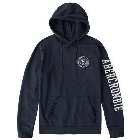 Abercrombie&Fitch (アバクロンビー&フィッチ) 袖ロゴ刺繍アップリケ プルオーバーパーカー(フーディー)(Applique Logo Hoodie) メンズ(Navy Blue) 新品 日本未発売