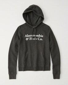 Abercrombie&Fitch (アバクロンビー&フィッチ)ロゴアップリケプルオーバーパーカー (フーディー) (Logo Hoodie) レディース (Dark Grey) 新品
