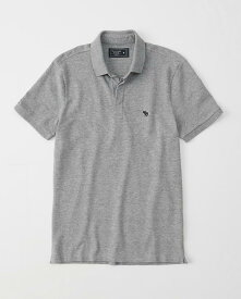 Abercrombie&Fitch (アバクロンビー&フィッチ) 正規品 ストレッチ 鹿の子半袖ポロシャツ (Exploded Icon Stretch Polo) メンズ (Gray) 新品