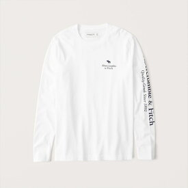 Abercrombie&Fitch (アバクロンビー&フィッチ) 正規品 ロゴプリント 長袖Tシャツ (ロンT) (Long-Sleeve Graphic Logo Tee) メンズ (White) 新品 (softA&F)