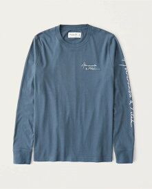 Abercrombie&Fitch (アバクロンビー&フィッチ) 正規品 ロゴ刺繍 長袖Tシャツ (ロンT) (Long-Sleeve Graphic Logo Tee) メンズ (dark blue grey) 新品 (softA&F)