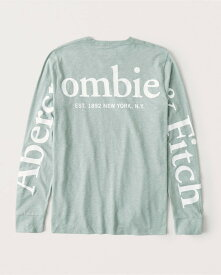 Abercrombie&Fitch (アバクロンビー&フィッチ) 正規品 バックプリント 長袖Tシャツ (ロンT) (Exploded Logo Tee) メンズ (Mint Green) 新品