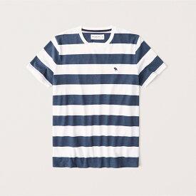 Abercrombie&Fitch (アバクロンビー&フィッチ) ムース刺繍 ボーダー クルーネックTシャツ (Icon Striped Crew Tee) メンズ (White And Navy) 新品 (softAF)