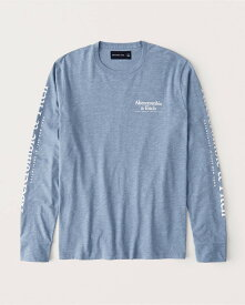 Abercrombie&Fitch (アバクロンビー&フィッチ) 正規品 バックプリント 長袖Tシャツ (ロンT) (Exploded Logo Tee) メンズ (Heather Blue) 新品