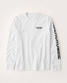 Abercrombie&Fitch (アバクロンビー&フィッチ) 正規品 長袖ロゴアップリケTシャツ (ロンT) (Long-Sleeve Logo Tee) メンズ (Light Heather Grey) 新品