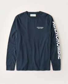 Abercrombie&Fitch (アバクロンビー&フィッチ) 正規品 長袖ロゴアップリケTシャツ (ロンT) (Long-Sleeve Logo Tee) メンズ (navy blue) 新品