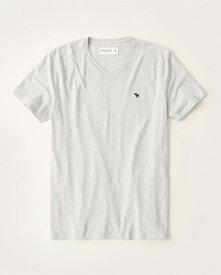 Abercrombie&Fitch (アバクロンビー&フィッチ) ムース刺繍 VネックTシャツ (Icon V-Neck Tee) メンズ (Light Grey) 新品 (softAF)