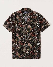 Abercrombie&Fitch (アバクロンビー&フィッチ) 半袖 キャンプカラーシャツ (Short-Sleeve Camp Collar Button-Up Shirt) メンズ (Black Floral) 新品