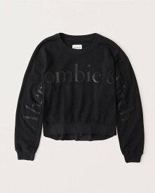 Abercrombie&Fitch (アバクロンビー&フィッチ) 正規品 ロゴアップリケスエット (長袖) (Exploded Logo Crewneck Sweatshirt) レディース (Black) 新品 softAF