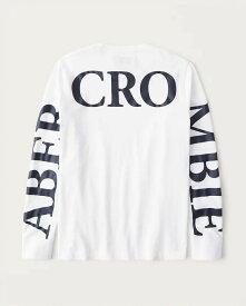 Abercrombie&Fitch (アバクロンビー&フィッチ) 正規品 バックロゴプリント 長袖Tシャツ (ロンT) (Long-Sleeve Exploded Back Logo Tee) メンズ (White) 新品 (softA&F)