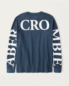 Abercrombie&Fitch (アバクロンビー&フィッチ) 正規品 バックロゴプリント 長袖Tシャツ (ロンT) (Long-Sleeve Exploded Back Logo Tee) メンズ (Dark Blue) 新品 (softA&F)