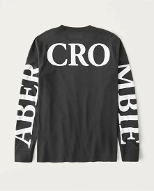 Abercrombie&Fitch (アバクロンビー&フィッチ) 正規品 バックロゴプリント 長袖Tシャツ (ロンT) (Long-Sleeve Exploded Back Logo Tee) メンズ (Black) 新品 (softA&F)