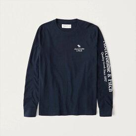 Abercrombie&Fitch (アバクロンビー&フィッチ) 正規品 ロゴプリント 長袖Tシャツ (ロンT) (Long-Sleeve Graphic Logo Tee) メンズ (Navy Blue) 新品 (softA&F)