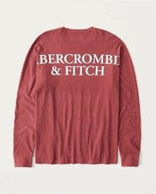 Abercrombie&Fitch (アバクロンビー&フィッチ) 正規品 バックプリント 長袖Tシャツ (ロンT) (Long-Sleeve Exploded Back Logo Tee) メンズ (Red) 新品 (softA&F)
