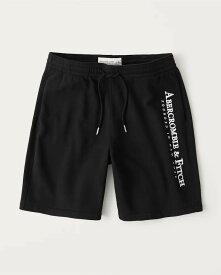 Abercrombie&Fitch (アバクロンビー&フィッチ) ロゴ 刺繍 スエット ショーツ (Fleece Shorts) メンズ (Black) 新品