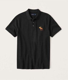 Abercrombie&Fitch (アバクロンビー&フィッチ) 正規品 ビックムース刺繍 ストレッチ 鹿の子半袖ポロシャツ (Exploded Signature Icon Stretch Polo) メンズ (Black) 新品