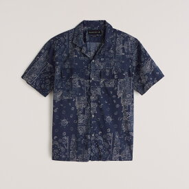 Abercrombie&Fitch (アバクロンビー&フィッチ) 半袖 キャンプカラーシャツ (90s Short-Sleeve Camp Collar Button-Up Shirt) メンズ (Navy Blue Print) 新品 (Relaxed)