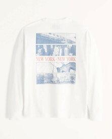 Abercrombie&Fitch (アバクロンビー&フィッチ) 正規品 リラックス イマジナリーロゴバックプリント 長袖Tシャツ (ロンT) (Relaxed Long-Sleeve Imagery Logo Tee) メンズ (White) 新品 (softA&F)