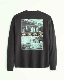 Abercrombie&Fitch (アバクロンビー&フィッチ) 正規品 リラックス イマジナリーロゴバックプリント 長袖Tシャツ (ロンT) (Relaxed Long-Sleeve Imagery Logo Tee) メンズ (Dark Grey) 新品 (softA&F)