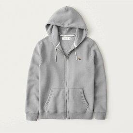 Abercrombie&Fitch (アバクロンビー&フィッチ) ムース刺繍 フルジップ パーカー(フーディー) (Signature Icon Full-Zip Logo Hoodie) メンズ (Grey) 新品 (softAF)
