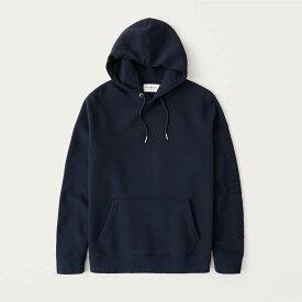 Abercrombie&Fitch (アバクロンビー&フィッチ) ロゴ刺繍 プルオーバーパーカー(フーディー) (Elevated Logo Hoodie) メンズ (Navy Blue) 新品 (softAF)