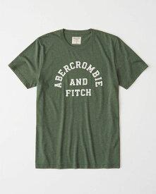 Abercrombie&Fitch 正規品 (アバクロンビー&フィッチ) ロゴ アップリケ Tシャツ (Logo Crewneck Tee) メンズ (Olive Green) 新品