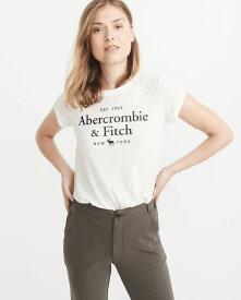 Abercrombie&Fitch 正規品 レディース (アバクロンビー&フィッチ) クルーネック ロゴ プリント Tシャツ (Short-Sleeve Logo Tee) (White) 新品