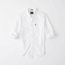 Abercrombie&Fitch (アバクロンビー&フィッチ) ムース刺繍 ポプリンシャツ スーパースリム(長袖) (Super Slim Poplin Shirt) メンズ (White) 新品