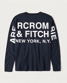 Abercrombie&Fitch (アバクロンビー&フィッチ) 正規品 バックプリント 長袖Tシャツ (ロンT) (Long-Sleeve Logo Tee) メンズ (Navy Blue) 新品 (softA&F)