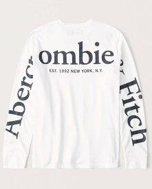 Abercrombie&Fitch (アバクロンビー&フィッチ) 正規品 バックプリント 長袖Tシャツ (ロンT) (Long-Sleeve Logo Tee) メンズ (White) 新品