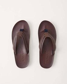Abercrombie&Fitch (アバクロンビー&フィッチ) 正規品 ヴィンテージレザーサンダル (Logo Flip Flops) メンズ (Dark Brown Leather With Navy Stripe) 新品