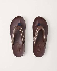 Abercrombie&Fitch (アバクロンビー&フィッチ) 正規品 ヴィンテージレザーサンダル (Logo Flip Flops) メンズ (Dark Brown Leather With White Stripe) 新品