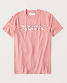 Abercrombie&Fitch 正規品 (アバクロンビー&フィッチ) ロゴグラフィック Tシャツ (半袖) (Graphic Logo Tee) メンズ (Pink) 新品 (softAF)