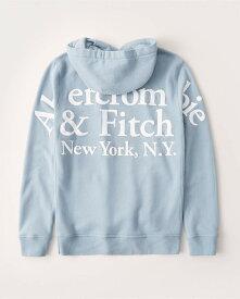 Abercrombie&Fitch (アバクロンビー&フィッチ) バックロゴ グラフィック プルオーバー パーカー (Exploded Logo Hoodie) メンズ (Light Blue) 新品 (softAF)