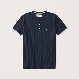 Abercrombie&Fitch (アバクロンビー&フィッチ) ムース刺繍 ヘンリーTシャツ (Icon Henley) メンズ (Navy) 新品 (softAF)