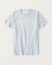 Abercrombie&Fitch 正規品 (アバクロンビー&フィッチ) ロゴグラフィック Tシャツ (半袖) (Graphic Logo Tee) メンズ (Light Blue) 新品 (softAF)
