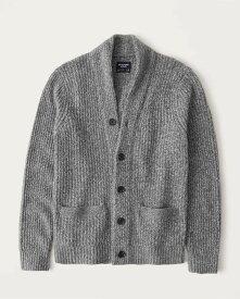 Abercrombie&Fitch (アバクロンビー&フィッチ) ショールカラー カーディガン (Marled Shawl Cardigan Sweater) メンズ (Grey) 新品