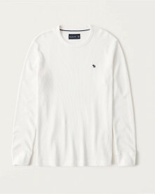 Abercrombie&Fitch (アバクロンビー&フィッチ) 正規品 ワッフル クルーネック 長袖Tシャツ (ロンT) (Long-Sleeve Icon Waffle Crew Tee) メンズ (White) 新品