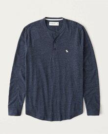 Abercrombie&Fitch (アバクロンビー&フィッチ) 正規品 ヘンリー 長袖Tシャツ (ロンT) (Long-Sleeve Icon Henley) メンズ (Heather Navy Blue) 新品
