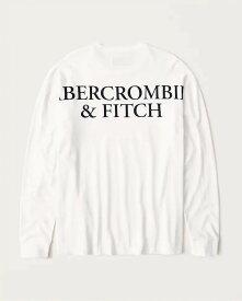 Abercrombie&Fitch (アバクロンビー&フィッチ) 正規品 バックプリント 長袖Tシャツ (ロンT) (Long-Sleeve Logo Tee) メンズ (White) 新品 (softA&F)