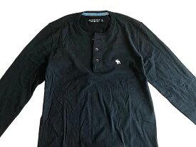 Abercrombie&Fitch 正規品 (アバクロンビー&フィッチ) Moose刺繍 ヘンリーネック Tシャツ (長袖) (ロンT) (Long-Sleeve Icon Henley) メンズ SOFT A&F TEE(Navy Blue) 新品 日本未発売