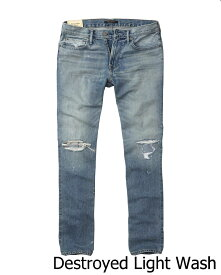 【新品】アバクロ【Mensメンズ】スリムストレート/Destroyed Light Wash【Color:281】【Slim Straight Jeans】【デニム】【Abercrombie&Fitch】【本物保証】