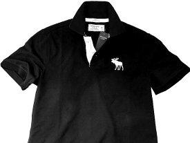 Abercrombie&Fitch (アバクロンビー&フィッチ) 正規品 ストレッチ 鹿の子半袖ポロシャツ (Icon Polo) メンズ (Black) 新品 日本未発売